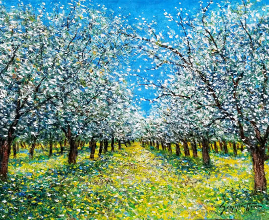 James Scoppettone, Almond Blossoms in the Spring