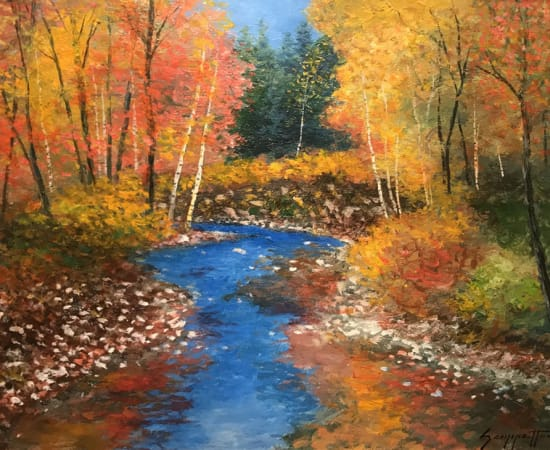 James Scoppettone, AUTUMN CREEK REFLECTIONS Trail Through The Birches