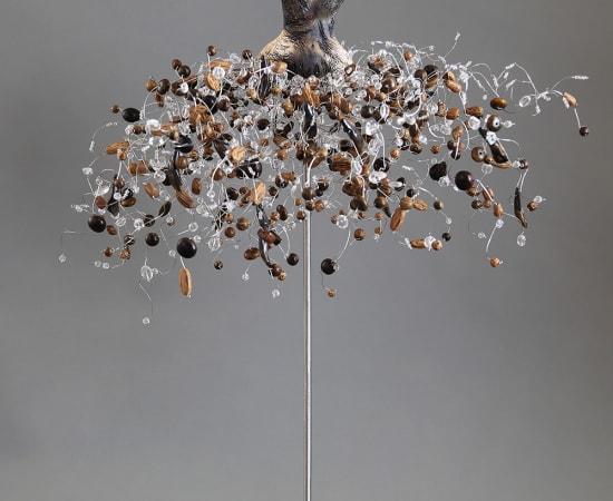 Estella Fransbergen, Sawdust Fired Textured Torso with Wood, Quartz and Swarovski Crystals