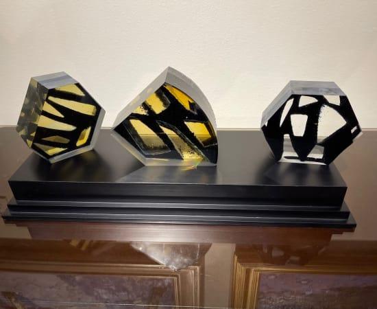 Tim Lotton, Obsidian Cast Glass Sculpture (set of 3)