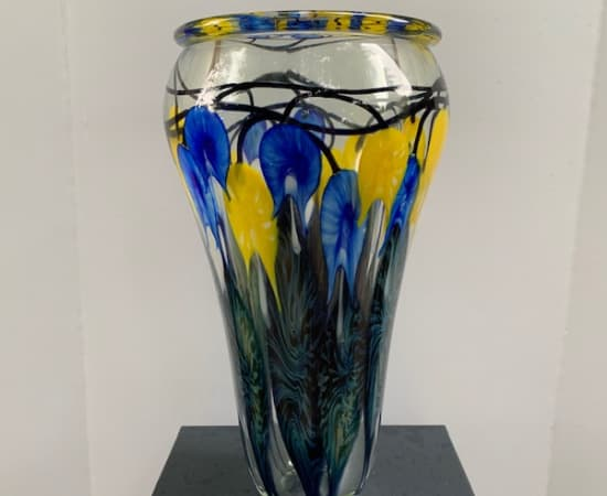 Tim Lotton, Blue & Yellow Bleeding Heart Vase