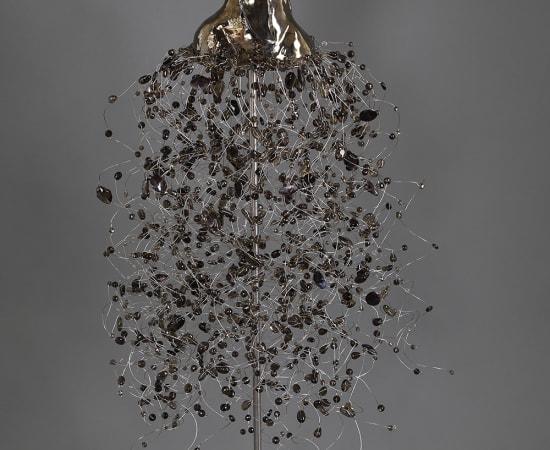 Estella Fransbergen, High Fired Clay Torso with Swarovski Crystals, Smoky Quartz and Purple Shells