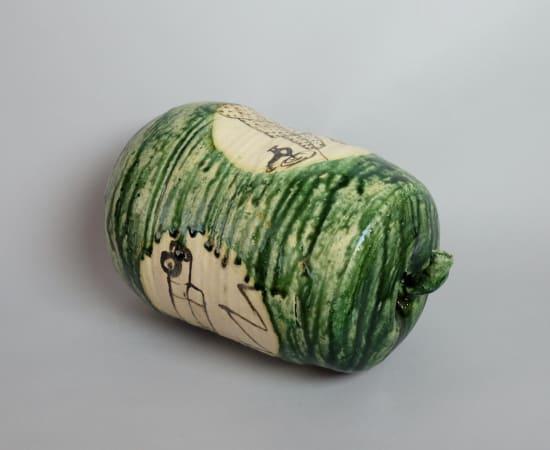 Suzuki Goro 鈴木五郎, Oribe Sculpture 'Togan(Water Melon)' 絵織部 冬瓜, 2003