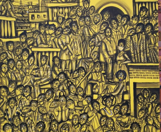 Obou Gbais, Anono crowd yellow, 2020