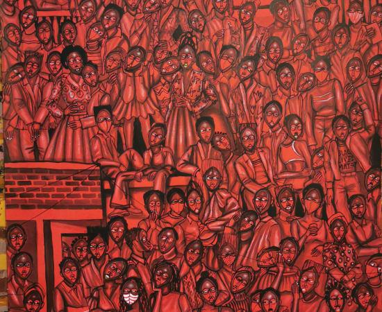 Obou Gbais, Anono crowd red, 2020