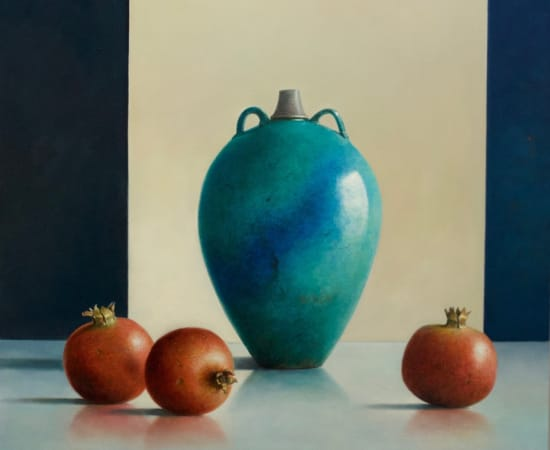 Lion Feijen, Antique Blue-Green Urn with Pomegranates