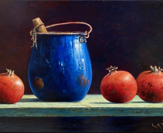 Lion Feijen, Blue Can and Pomegranates, 2021