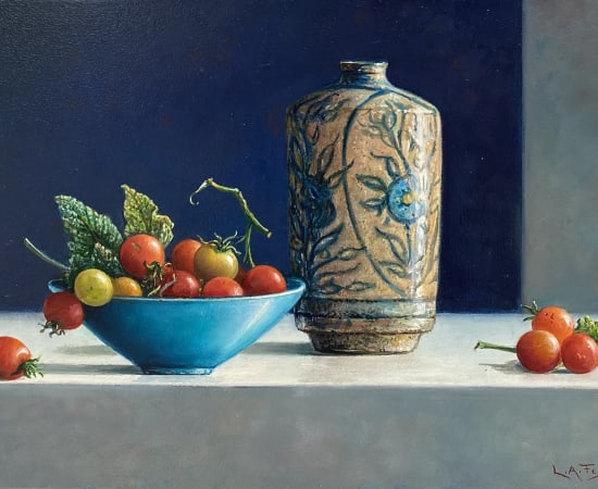 Lion Feijen, Coloured Jug and Small Tomatoes, 2021