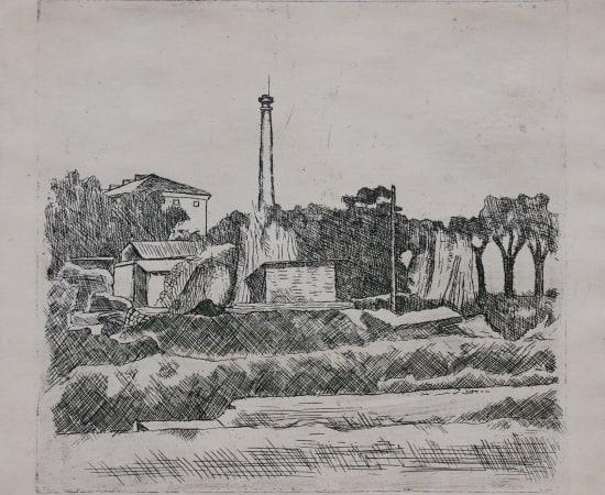 Giorgio Morandi, Paesaggio con ciminiera (Sobborghi di Bologna), 1928