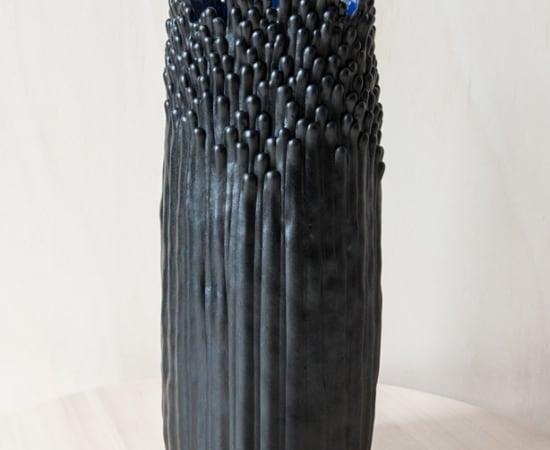 Cécile Bichon, Grand Vase Floral Noir - Blue