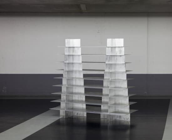 Bram Vanderbeke, Collaboration with Wendy Andreu: Double Pyramid shelf, 2017