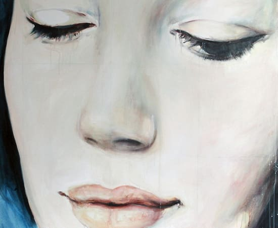 Kati Verebics, Blue face (with drooping eyelids), 2015