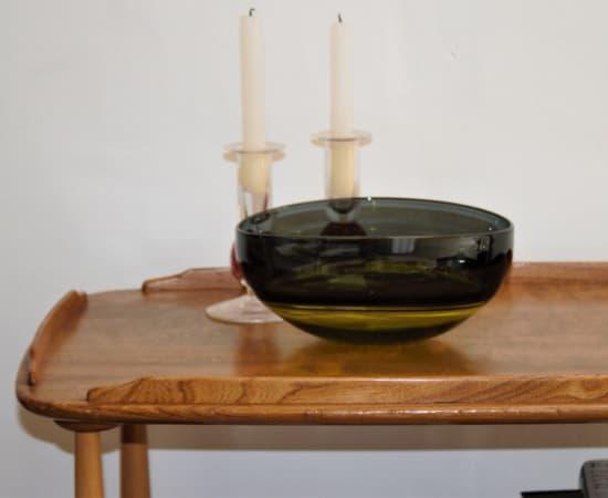 Stewart Hearn, Small Oval Encalmo Bowl (lime / grey) , 2020