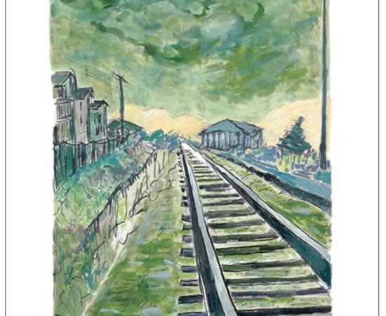 <span class=&#34;artist&#34;><strong>Bob Dylan</strong></span>, <span class=&#34;title&#34;><em>Train Tracks (green - medium format)</em>, 2012</span>
