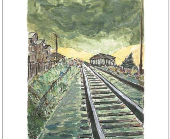 <span class=&#34;artist&#34;><strong>Bob Dylan</strong></span>, <span class=&#34;title&#34;><em>Train Tracks (green)</em>, 2010</span>