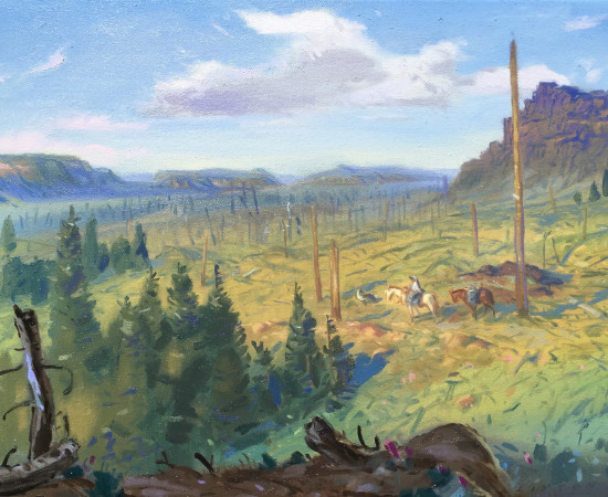 <span class=&#34;artist&#34;><strong>Gabriel Liston</strong></span>, <span class=&#34;title&#34;><em>Herder with dog and pack horses, Big Fish Burn, Flat Tops Wilderness</em>, 2017</span>