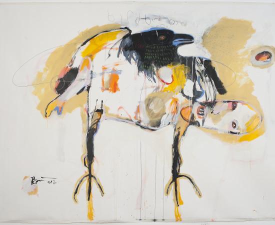 <span class=&#34;artist&#34;><strong>Rick Bartow</strong></span>, <span class=&#34;title&#34;><em>Bird Bird Bird Crow Crow</em>, 2013</span>