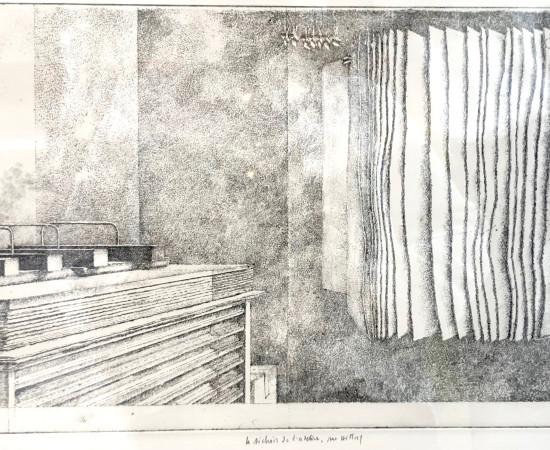 Érik Desmazières, Le Séchoir de l'atelier rue Hittorf, 2019