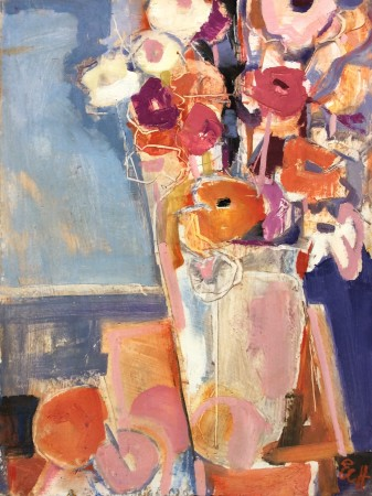 """<span class=""""artist""""><strong>Emma Haggas</strong></span>, <span class=""""title""""><em>Flowers in an Ice Bucket</em></span>"""