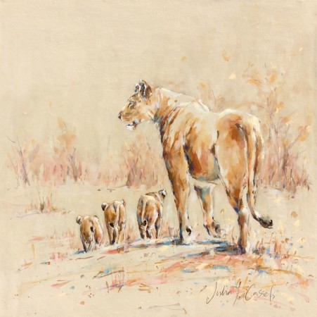 "<span class=""artist""><strong>Julia Cassels</strong></span>, <span class=""title""><em>Lioness and Cubs</em></span>"