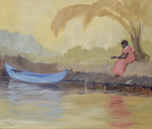 """<span class=""""artist""""><strong>Clare Granger</strong></span>, <span class=""""title""""><em>Fishing in the Backwaters</em></span>"""