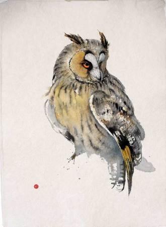 """<span class=""""artist""""><strong>Karl Martens</strong></span>, <span class=""""title""""><em>Long-eared Owl</em></span>"""