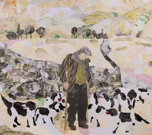 """<span class=""""artist""""><strong>Dione Verulam</strong></span>, <span class=""""title""""><em>One Man and his Dogs in Snow</em></span>"""