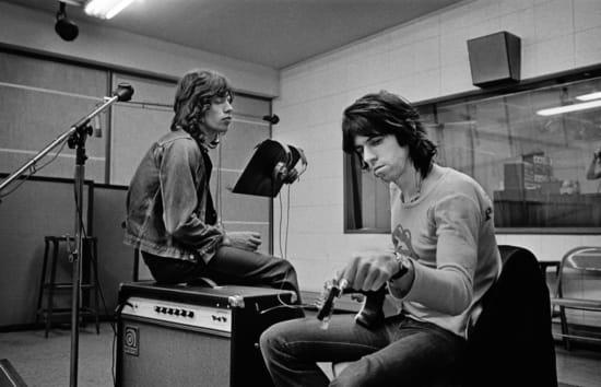 Jim Marshall, Mick Jagger & Keith Richards in the Recording Studio at Sunset Sound Exile on Main Street Recordings Stones,...
