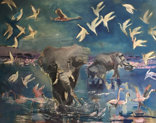 Sophie Walbeoffe, Flamingoes Pranced and Honked Out of Their Way, 2021