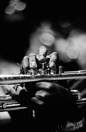 Jim Marshall, Miles Davis hands, Monterey Jazz Festival, 1963