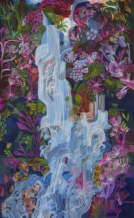 Ashley Amery, Waterfall with Pink Flowers, 2020