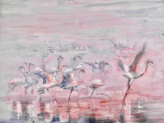 Sophie Walbeoffe, Flamingoes Amboseli Lake, 2020