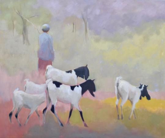 """<span class=""""artist""""><strong>Clare Granger</strong></span>, <span class=""""title""""><em>Herding Goats</em></span>"""