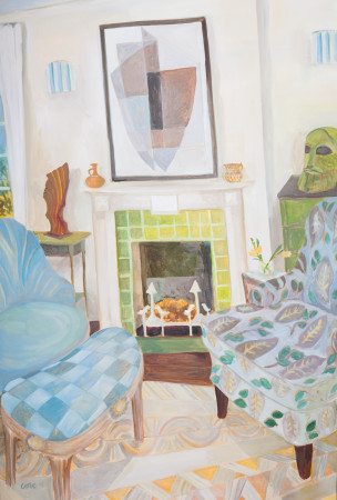 """<span class=""""artist""""><strong>Lottie Cole</strong></span>, <span class=""""title""""><em>Interior with Kathleen Guthrie, Elisabeth Frink and Bryan Ingham</em></span>"""