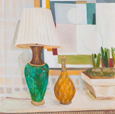 "<span class=""artist""><strong>Lottie Cole</strong></span>, <span class=""title""><em>Ben Nicholson, Lamp, Vase and Hyacinth Bulbs</em></span>"