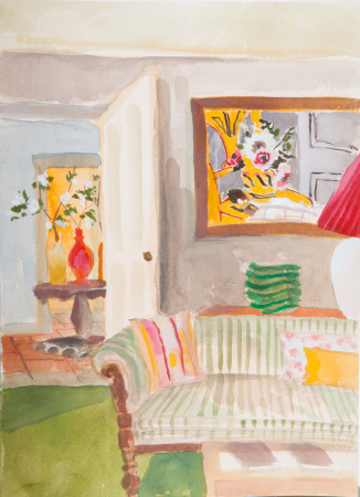 """<span class=""""artist""""><strong>Lottie Cole</strong></span>, <span class=""""title""""><em>Interior with Christopher Wood and Striped Sofa</em></span>"""