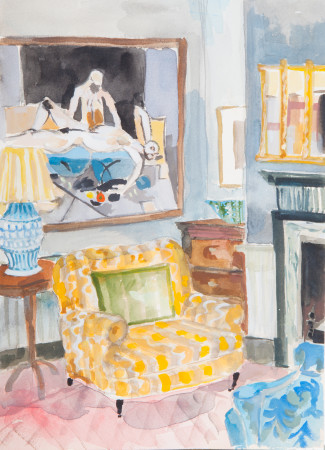 """<span class=""""artist""""><strong>Lottie Cole</strong></span>, <span class=""""title""""><em>Interior with Keith Vaughan and Yellow Chair</em></span>"""