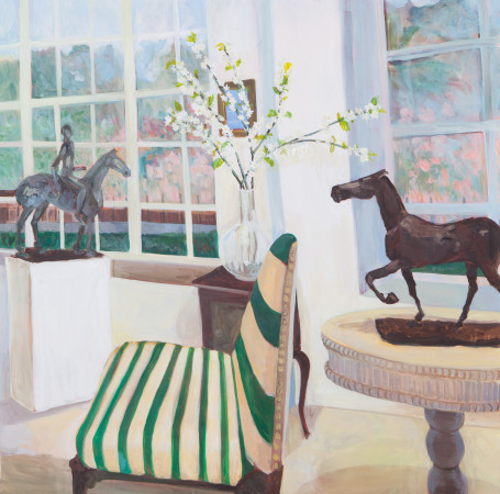 """<span class=""""artist""""><strong>Lottie Cole</strong></span>, <span class=""""title""""><em>Interior with Elisabeth Frink Table Sculptures and Pear Blossom</em></span>"""