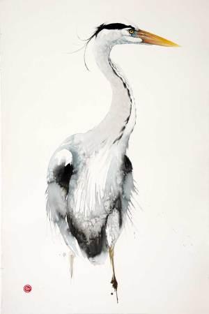 """<span class=""""artist""""><strong>Karl Martens</strong></span>, <span class=""""title""""><em>Grey Heron (Unframed)</em></span>"""