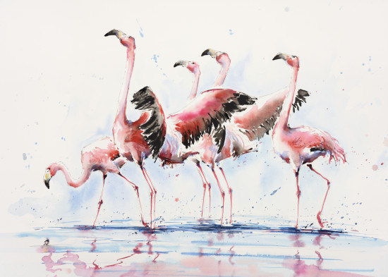 "<span class=""artist""><strong>Julia Cassels</strong></span>, <span class=""title""><em>Flamingos at Dawn</em></span>"