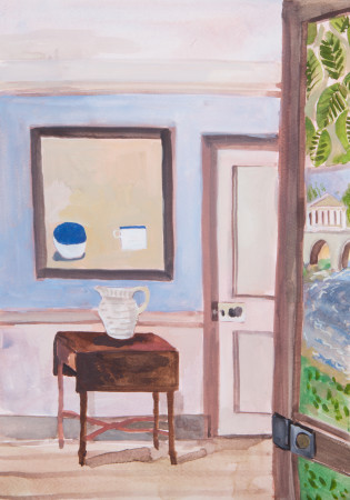 """<span class=""""artist""""><strong>Lottie Cole</strong></span>, <span class=""""title""""><em>Interior with William Scott and Painted Door</em></span>"""