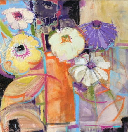 """<span class=""""artist""""><strong>Emma Haggas</strong></span>, <span class=""""title""""><em>Happy Flowers</em></span>"""