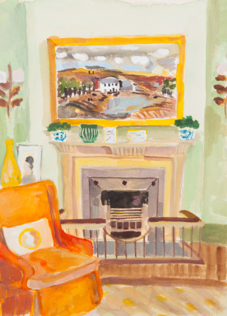 """<span class=""""artist""""><strong>Lottie Cole</strong></span>, <span class=""""title""""><em>Interior with Christopher Wood and Orange Chair</em></span>"""