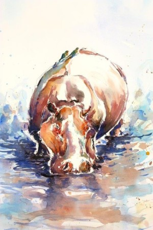 """<span class=""""artist""""><strong>Julia Cassels</strong></span>, <span class=""""title""""><em>Hippo with Oxpeckers</em></span>"""