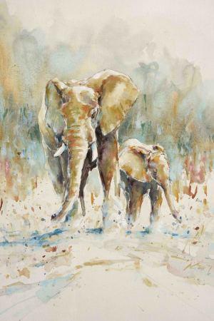 """<span class=""""artist""""><strong>Julia Cassels</strong></span>, <span class=""""title""""><em>Elephant Morning</em></span>"""