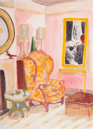 """<span class=""""artist""""><strong>Lottie Cole</strong></span>, <span class=""""title""""><em>Interior with De Chirico II</em></span>"""
