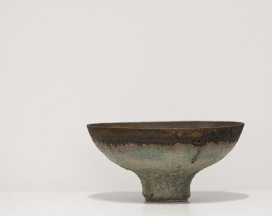 Lucie Rie, rare spinach glaze bowl, c1986