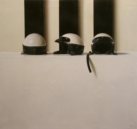 <span class=&#34;artist&#34;><strong>Fernando O'Connor</strong></span>, <span class=&#34;title&#34;><em>Three Helmets</em></span>