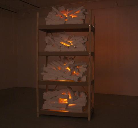 <p>Tony Bragg,&#160;<i>New Fire (shelves)</i>, 2014-2015</p><p>Hydrocal, foam, plywood, MDF, wire, reflective mylar, aluminum, motors, lightbulbs, and wiring, 108 x 50 x 26 in.</p><p>brag001</p>