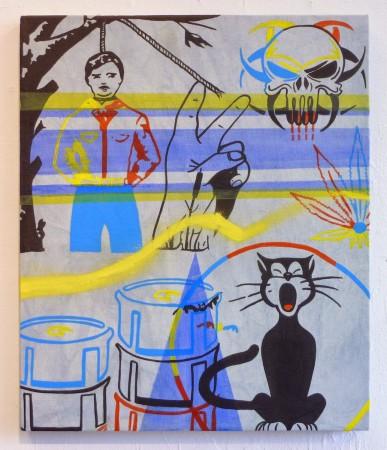 <p>Michael Leon,&#160;<i>&#193;ntrax Cartel</i>, 2014</p><p>Acrylic and Spray Paint on Indigo Dyed Canvas, 24 x 20 in.</p><p>leon002</p>